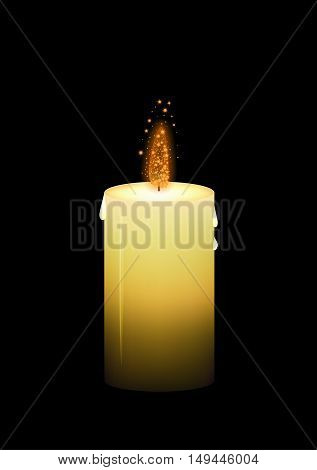 Shinning yellow wax candle with glittering fire on black background.