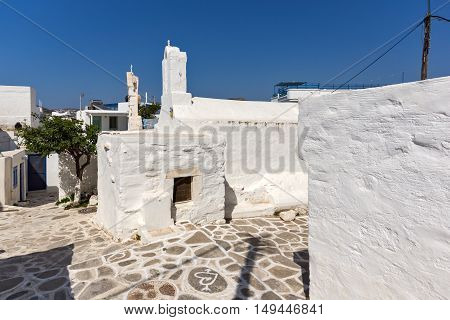 Amazing White chuch and seascape in town of Parakia, Paros island, Cyclades, Greece