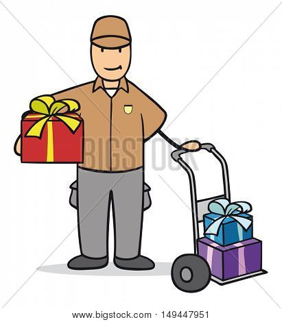 Cartoon of parcel delivery man with christmas presents