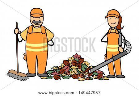 Cartoon of garbage disposal team with leaf vacuum and broom in autumn