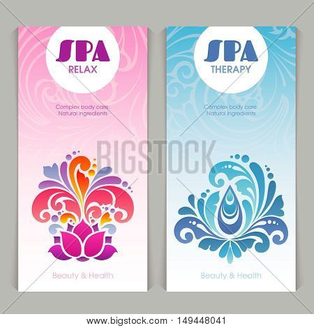 Vector set spa template with color ornate background and decorative elements: lotus flower and water oil splash symbol.