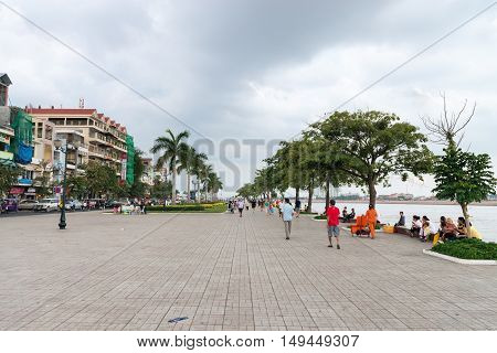 Cement Beachfront Promenade In Phnom Penh On A Cloudy Day.