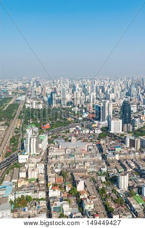 Central Dawntown Of Bangkok City With High Building City Skyline