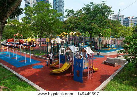 KUALA LUMPUR MALAYSIA - 02 NOV 2014: Safety playground at Kuala Lumpur City Park in Malaysia's capital city.