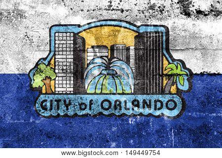 Flag Of Orlando, Florida, Usa, Painted On Dirty Wall