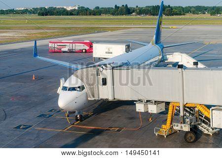 Ukraine International Airlines Airplane In An Airport