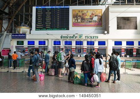 Ticketing Counters At Hua Lamphong Railway Station In Bangkok.