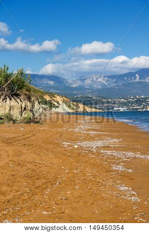 pamorama of Xi Beach,beach with red sand in Kefalonia, Ionian islands, Greece