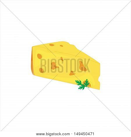 Vector illustration cheese slice with green stuff. Cut of cheese piece icon