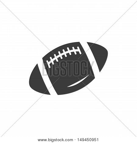 Rugby ball icon. Rugby ball Vector isolated on white background. Flat vector illustration in black. EPS 10