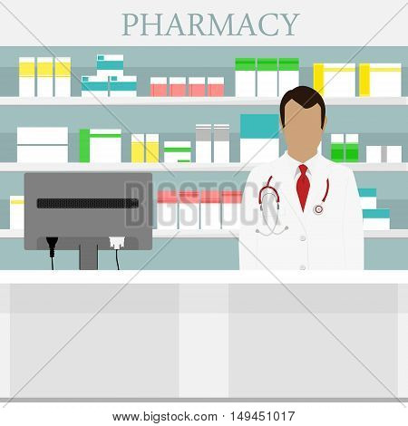 Vector illustration young pharmacy chemist man standing in drugstore. Male pharmacist at the counter in a pharmacy opposite the shelves with medicines. Health care conceptual background
