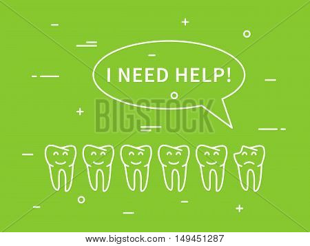 Dental tooth caries linear vector illustration. Dental tooth care technology creative concept. Healthy tooth hygiene symbol. Tooth caries broken tooth graphic design.