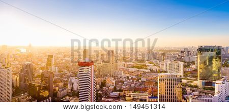 Top view Commercial building in Bangkok city at twilight with skylineThailand