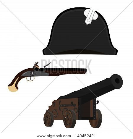 Vector illustration black Napoleon Bonaparte hat old canon and flintlock musket gun. General bicorne hat poster