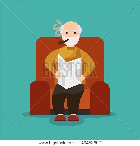 Grandpa sits in a chair reading a newspaper and smoking a pipe. Old man reading newspaper. Grandfather smoking. Vector flat cartoon illustration