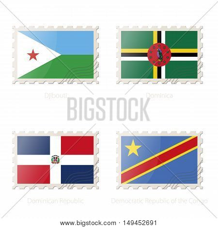 Postage Stamp With The Image Of Djibouti, Dominica, Dominican Republic, Democratic Republic Of The C