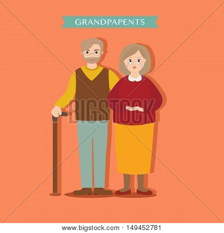 Young lovely grandparents on an orange background. Family grandma and grandpa vector illustration for design.