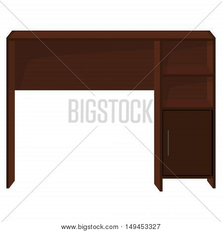 Vector illustration office desk. Wooden office writing table furniture with drawer isolated on white background