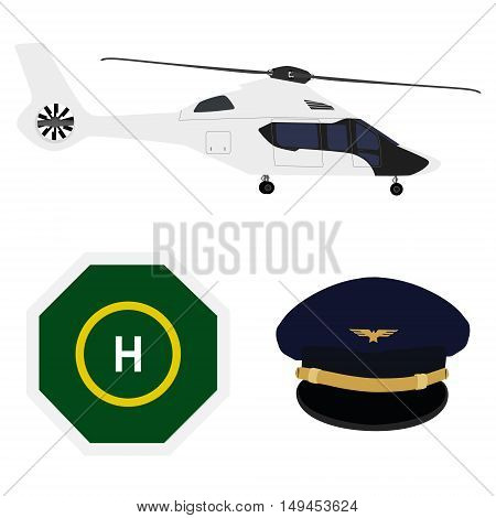 Vector illustration white luxury helicopter landing place and pilot cap with badge