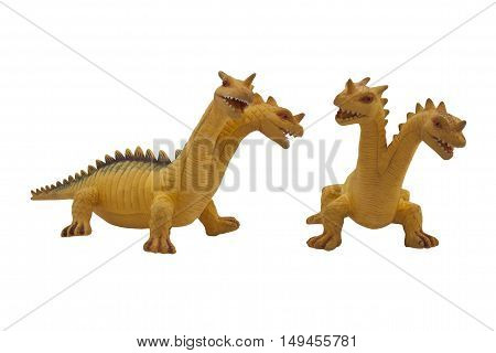 Dragon toy photo. Isolated two-headed dragon toy full face and angle view photo.