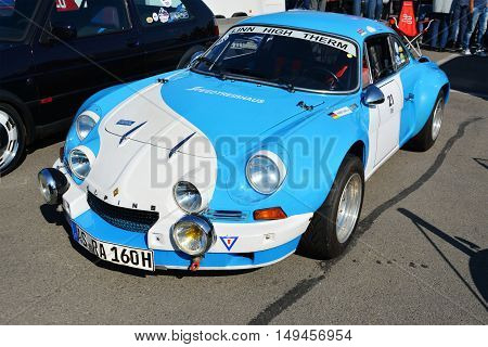 CLUJ-NAPOCA ROMANIA - SEPTEMBER 24 2016: Renault Alpine A110 Berlinette classic sports car in the parking lot