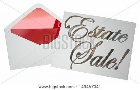 Estate Sale Invitation Envelope Advertising Garage 3d Illustration