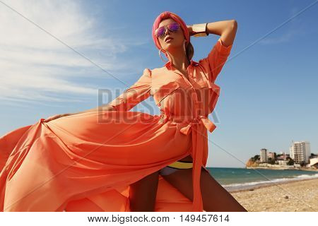 Gorgeous Sexy Woman In Luxurious Outfit, Posing On Summer Beach
