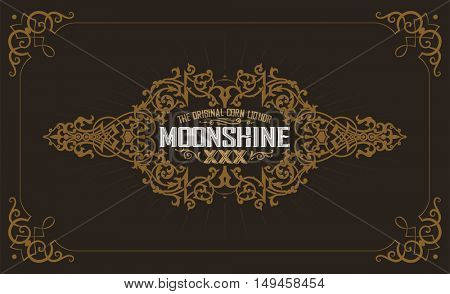 Moonshine label with old frame design