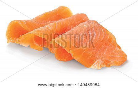 Fresh salmon on white background food seafood