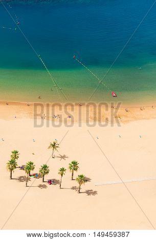 aerial top view of Las Teresitas beach, Tenerife