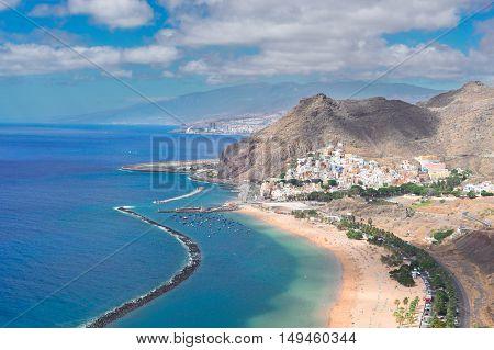 aerial view of Las Teresitas beach and San Andres village, Tenerife