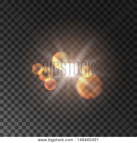 Golden sun light with lens flare effect. Glowing sun light with beams and rays. Glittering star shine bokeh on transparent background