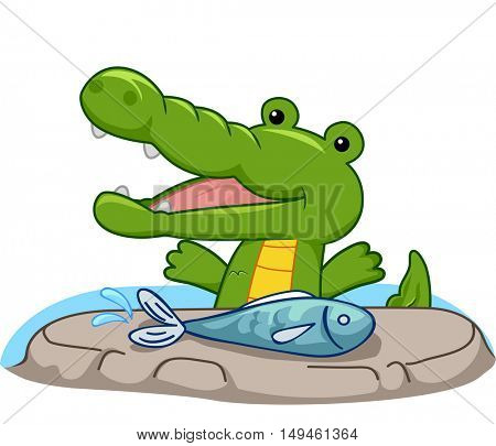 Mascot Illustration of a Hungry Crocodile Preparing to Eat a Freshwater Fish