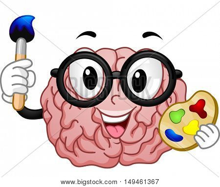 Mascot Illustration of a Nerdy Brain in a Pair of Glasses Holding a Color Palette in One Hand and a Paintbrush in the Other