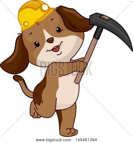 Mascot Illustration of a Cute Dog Miner in a Yellow Hard Hat Carrying a Hoe
