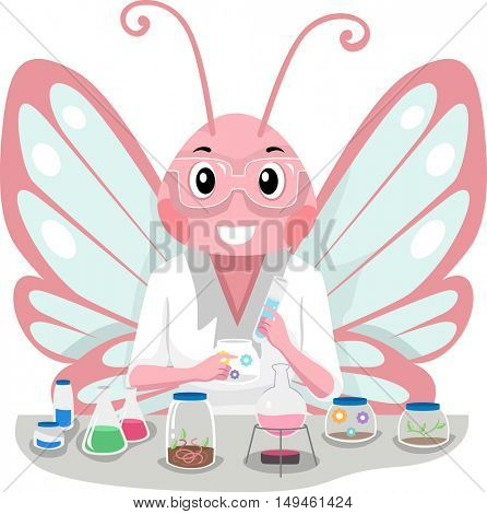 Mascot Illustration of a Cute Pink Butterfly in Laboratory Coat Experimenting with Chemicals