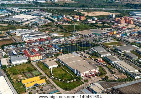 Industrial estate land development construction and residential area view