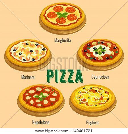 Pizza sorts. Italian cuisine menu card. Vector icons of pizza types Margherita, Marinara, Capricciosa, Napoletana, Pugliese for restaurant, pizzeria banner, placard