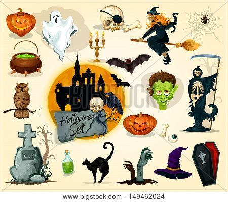 Halloween icons and symbols for banners, greeting cards design. Vector elements of pumpkin candle lantern, witch broom, zombie, skeleton skull, coffin, gravestone with cross, cauldron, ghost, black cat, bats, owl, haunted house