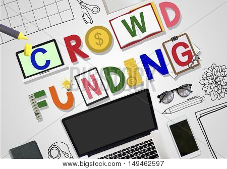 Crowd funding Fund raising Contribution Investment Concept