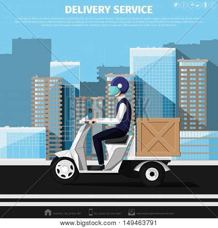 Deliveryman rides on a motor scooter with delivery box against background of the cityscape. Flat design. Vector illustration 10 EPS without transparency