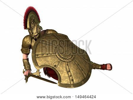 3D rendering of an ancient Greek soldier isolated on white background