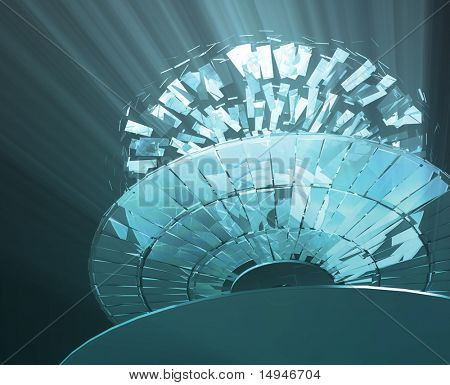 Data information loss and corruption illustration, shattered cd poster