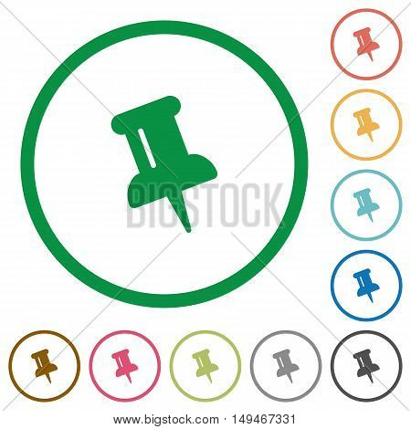 Set of push pin color round outlined flat icons on white background