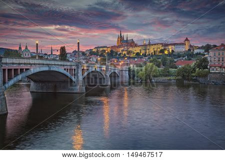 Prague at sunset. Image of Prague, capital city of Czech Republic, during dramatic sunset.