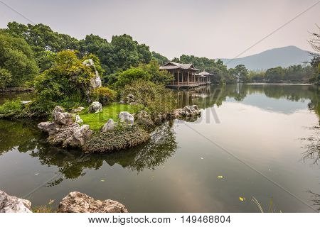Shady bower and small island on the West Lake in Hangzhou China