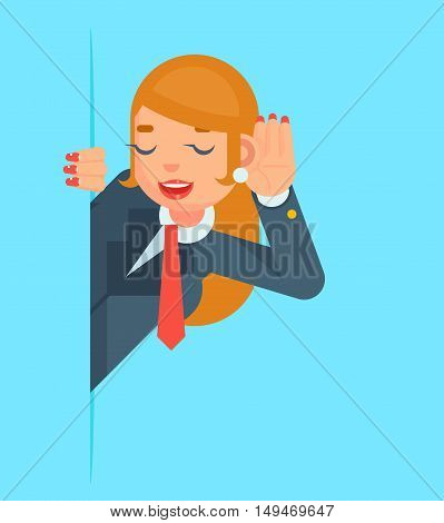 Gossip Girl Listen Overhear Spy Corner Cartoon Businessman Character Flat Vector Illustration