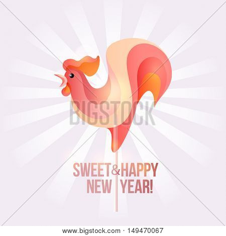 Sign New Year 2017 rooster in shape of candy on stick. Year number and rooster striped holiday candies. Vector design element for christmas, new years day, sweet-stuff, winter holiday, new years eve