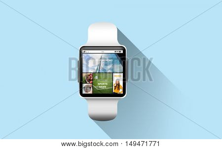 modern technology, mass media, internet and object concept - close up of black smart watch with news application on screen over blue background