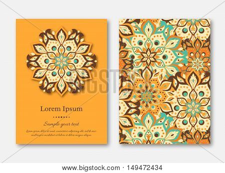 Set of cards flyers brochures templates with hand drawn mandala pattern. Vintage oriental style. Indian asian arabic islamic ottoman motif. Vector illustration.